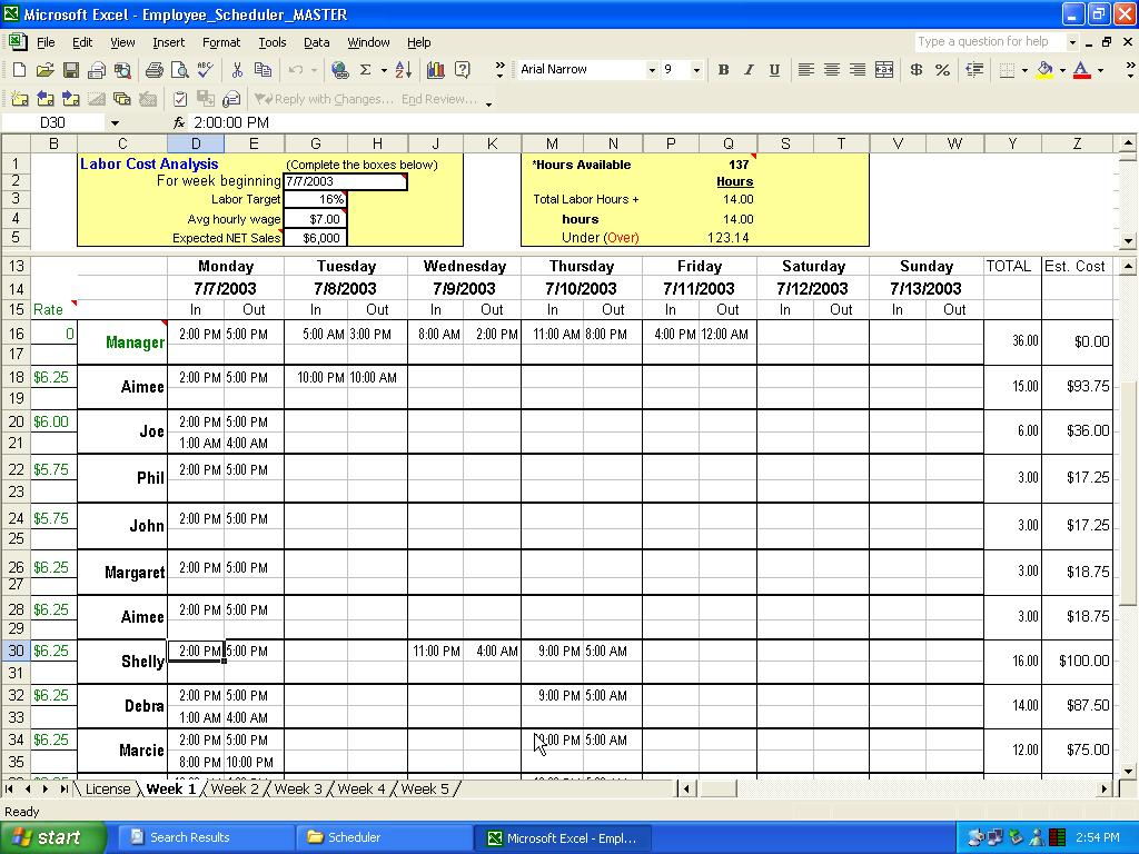 Click to view Employee Scheduler for Excel and OpenOffice 2.1 screenshot