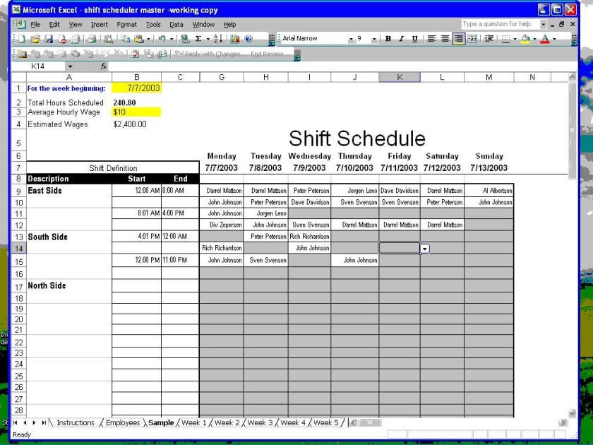 Shift Scheduler For Excel 1 Download