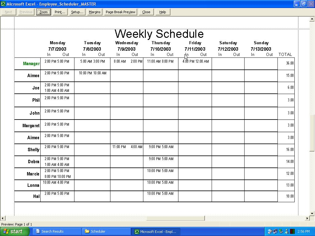 Employee scheduler for excel