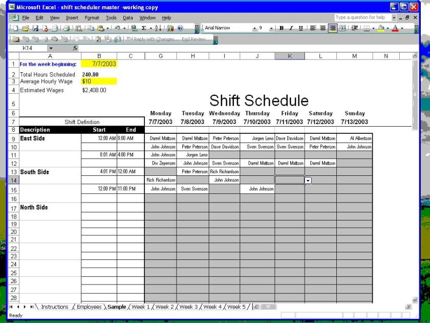 make schedules how to make employee work schedules in excel weekly and hourly employee. Black Bedroom Furniture Sets. Home Design Ideas